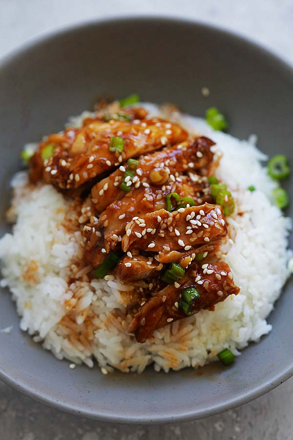Instant Pot chicken with honey sesame sauce, on top of steamed rice.