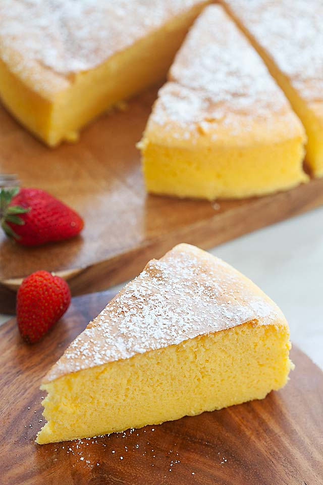 Soft, fluffy and jiggly Japanese cheesecake.