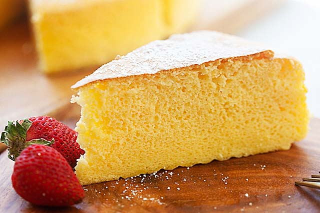 A slice of Japanese cheesecake.