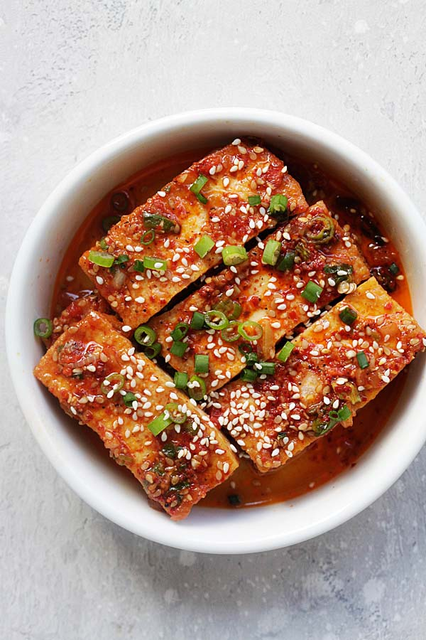 Spicy Korean braised tofu with chili powder, garlic, soy sauce, sugar and sesame oil.