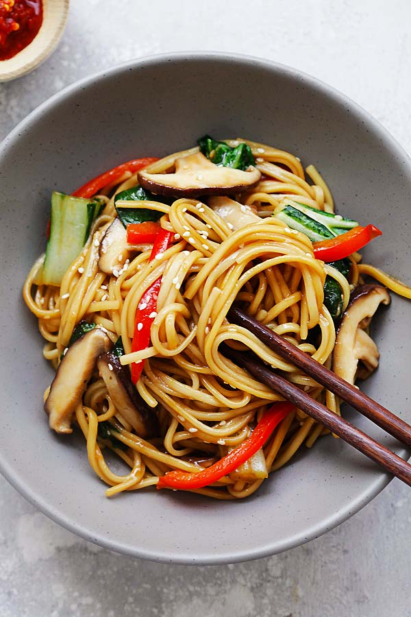 Vegetable Lo Mein recipe with bok choy, red bell peppers, shiitake mushrooms and noodles in a Lo Mein sauce.