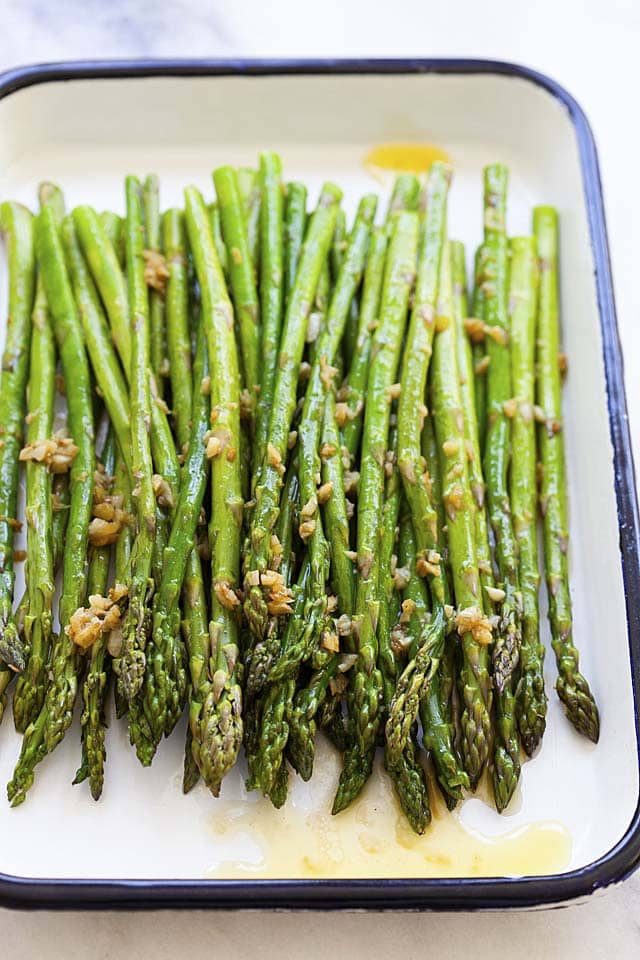 Healthy and easy sauteed asparagus with garlic butter seasoning ready to serve.