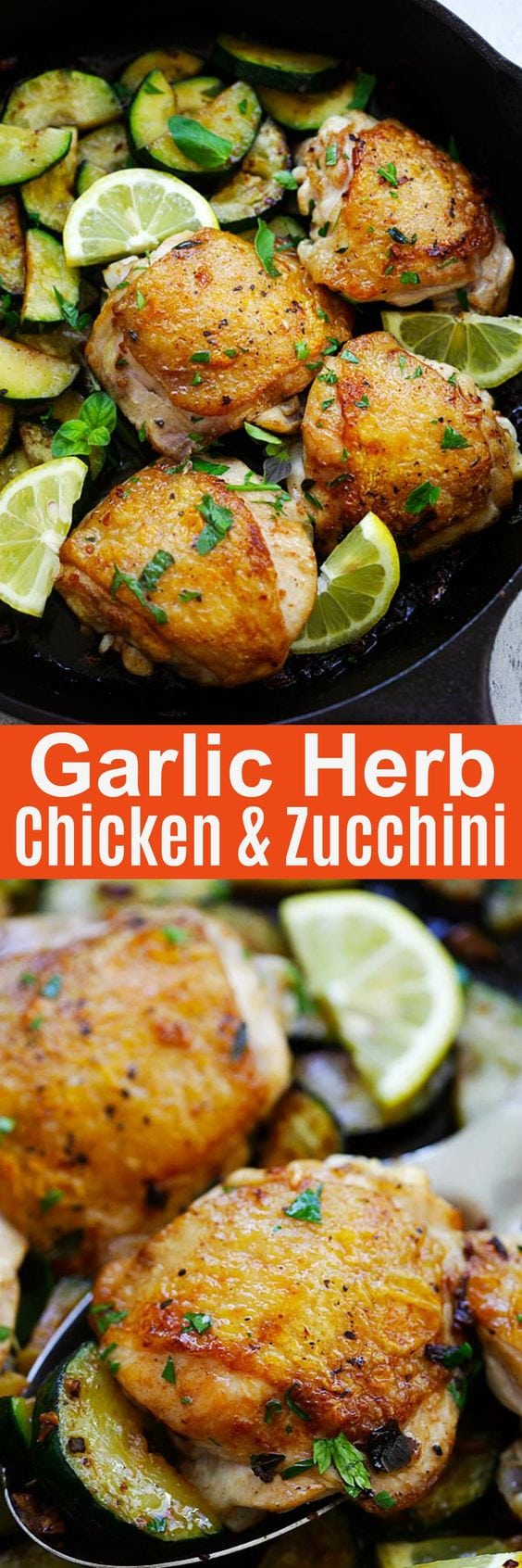 Garlic Herb Chicken and Zucchini - a quick and easy one-pot recipe with delicious and flavorful chicken and zucchini cooked with garlic, oregano, thyme, white wine and parsley | rasamalaysia.com