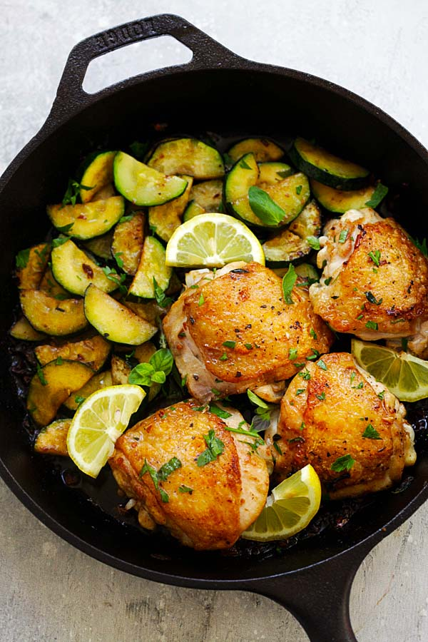 Homemade Garlic Herb Chicken and Zucchini cooked in a skillet.