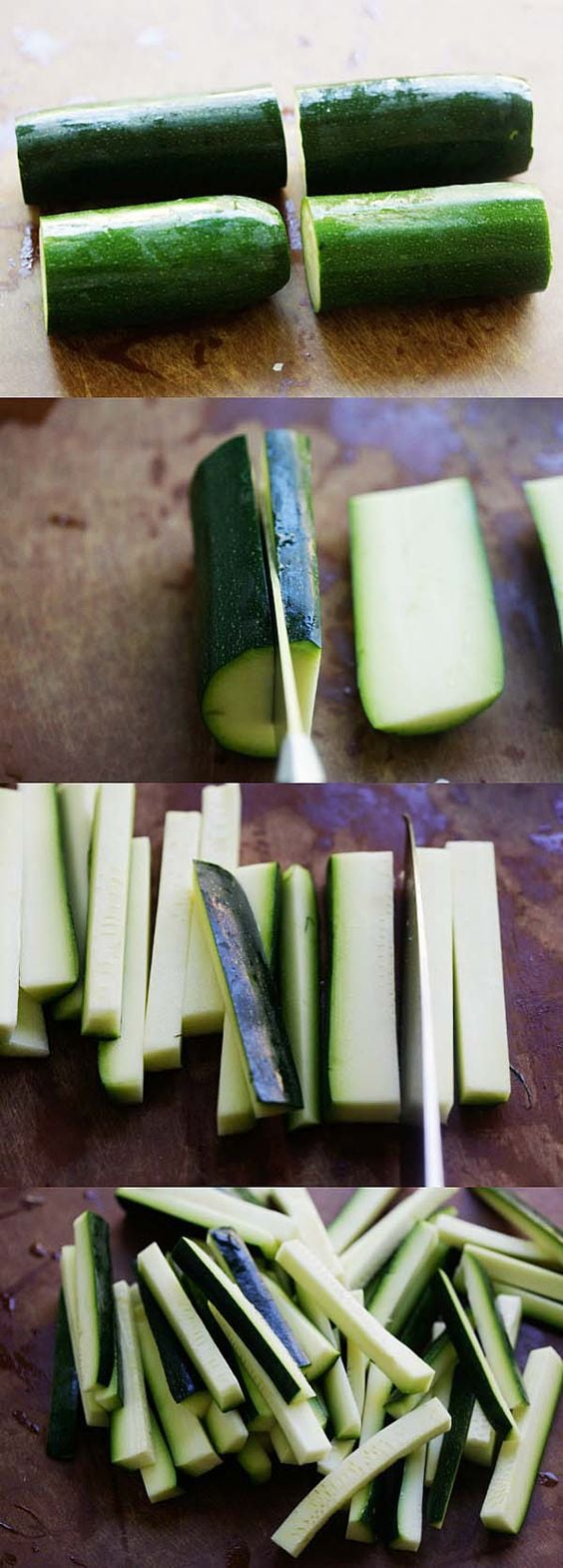 How to Cut Zucchini Fries - learn the step-by-step picture guide on the proper ways to slice and cut zucchini into zucchini fries | rasamalaysia.com