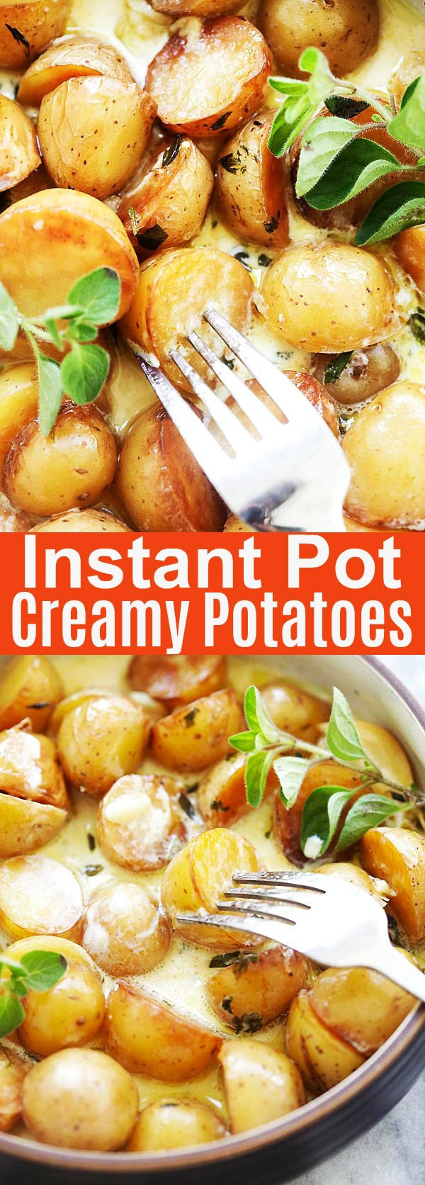 Instant Pot Creamy Potatoes - ready in 15 minutes or less, these crispy and creamy potatoes were perfectly roasted in the Instant Pot pressure cooker. So delicious with garlic and aromatic herbs | rasamalaysia.com