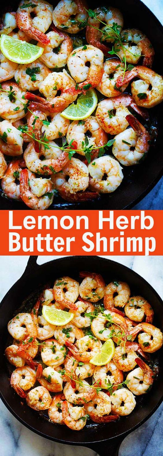 Lemon Herb Butter Shrimp - crazy easy and delicious skillet sauteed shrimp with lemon butter and herbs this recipe takes less than 15 mins | rasamalaysia.com