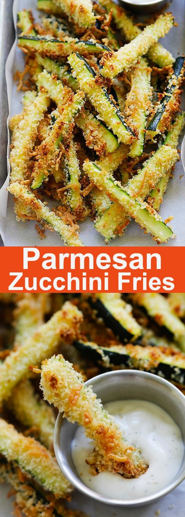 Crispy baked zucchini fries made with Japanese panko bread crumbs and Parmesan cheese. Serve the zucchini fries with ranch dressing as a healthy and delicious snack | rasamalaysia.com