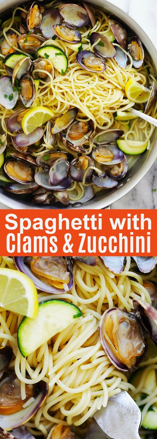 Spaghetti with Clams and Zucchini - easy spaghetti pasta with clams and zucchini, white wine, olive oil, butter and garlic. Weeknight dinner is ready in 20 mins | rasamalaysia.com