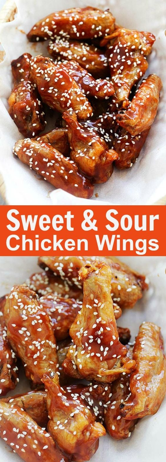 Sweet and Sour Chicken Wings - crispy oven-baked chicken wings with homemade sweet and sour sauce. These wings are addictive and delicious | rasamalaysia.com