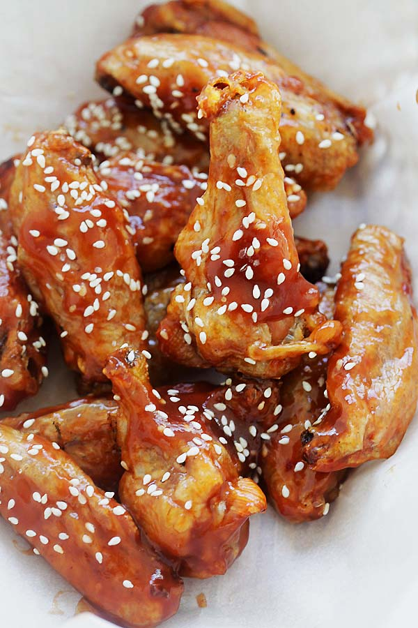 Crispy baked sweet and sour Chicken Wings with homemade sweet and sour sauce.