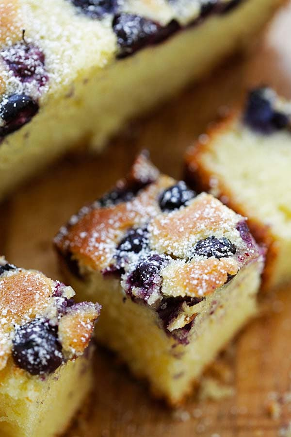 Close up of blueberry butter cake ready to serve.