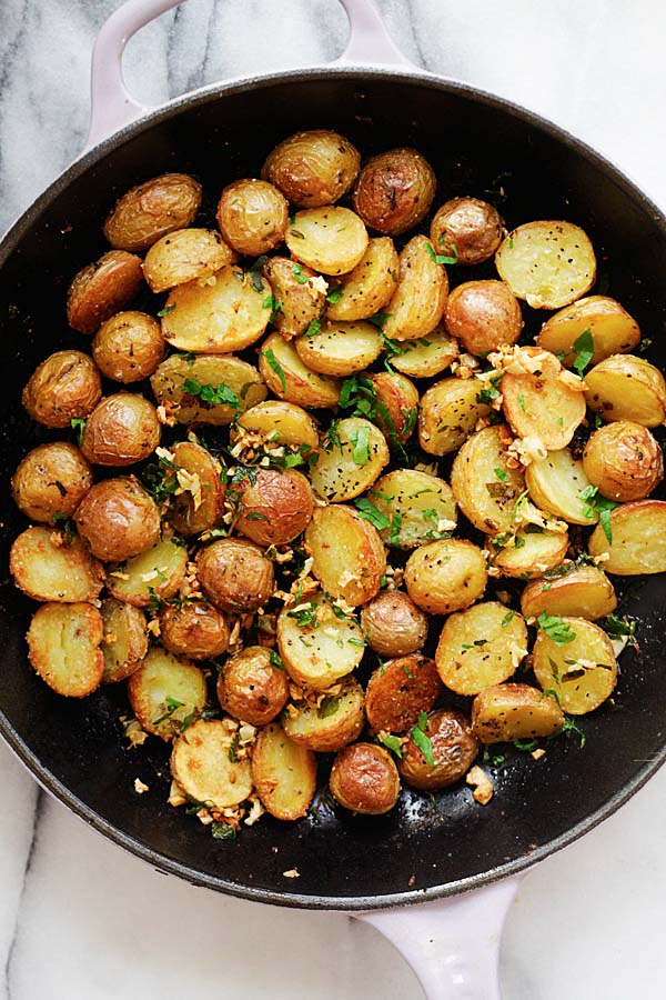 top down view of roasted Crispy Potatoes.