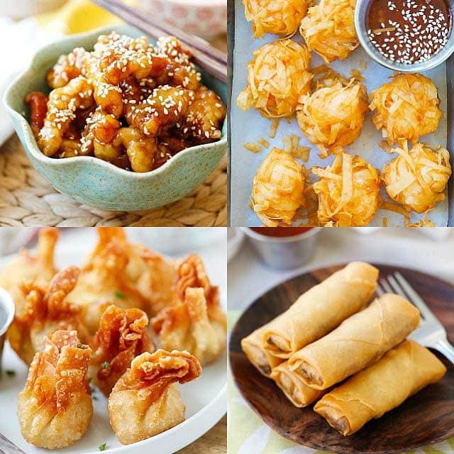Deep-fried Chinese food: fried sesame chicken, fried wontons, fried egg rolls and fried shrimp balls.