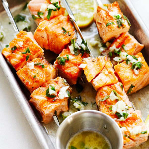 Garlic Butter Salmon Kebab