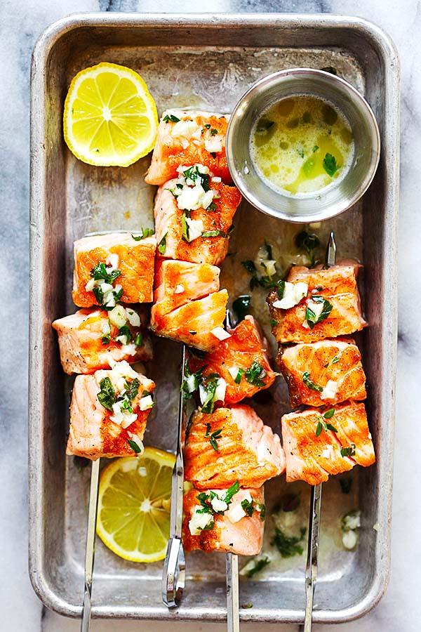 Garlic Butter Salmon Kebab in baking dish.