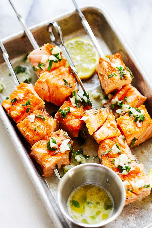 Easy homemade Salmon Kebab with garlic butter on skewers.