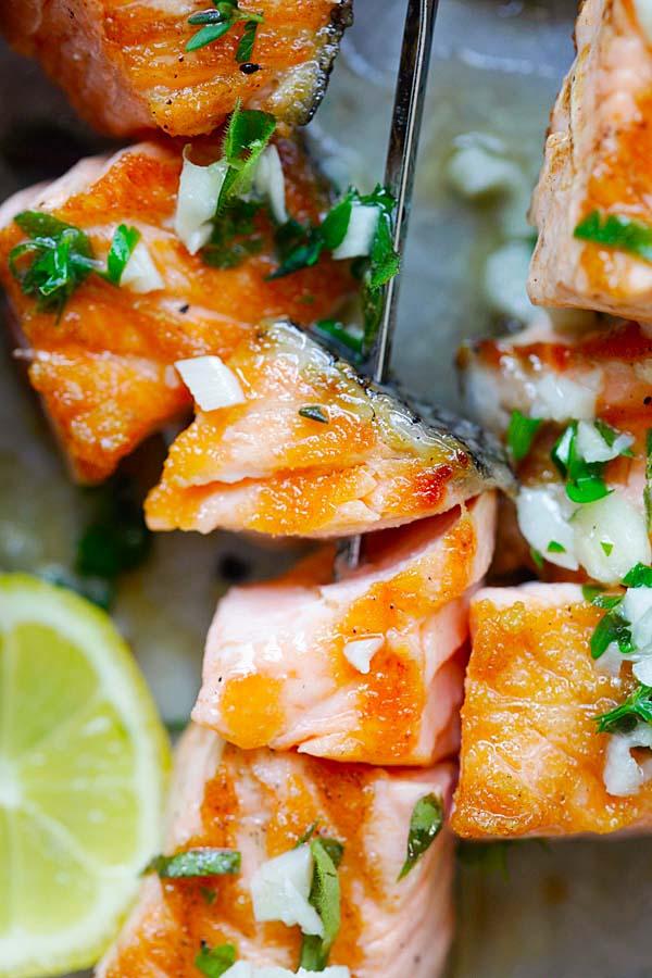Close up Garlic Butter Salmon Kebab skewers.