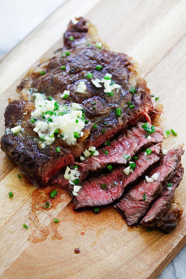 Easy and quick garlic Chive Butter Steak.