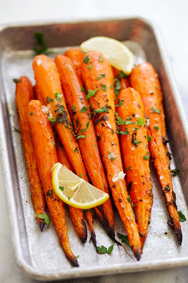 Roasted carrots with lemon and herbs.