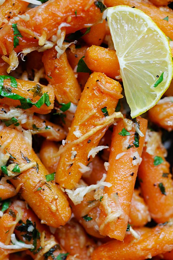 Roasted carrots with lemon and Parmesan cheese.