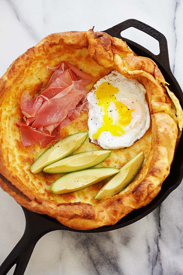 Yorkshire pudding and a pancake with a trio of toppings of egg, prosciutto and avocado.