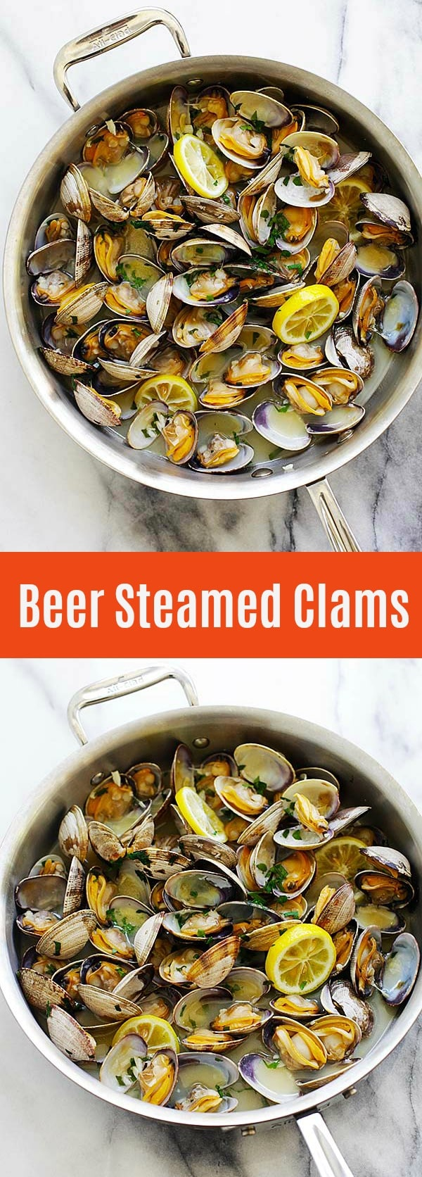 Beer Steamed Clams - the easiest steamed clams recipe ever with beer, garlic, parsley and lemon. Juicy, fat and succulent clams cooked in under 10 minutes | rasamalaysia.com