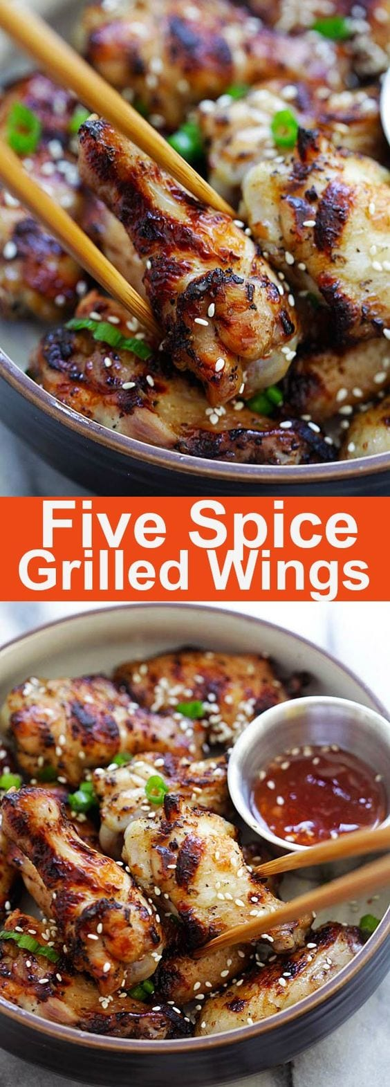 Five Spice Grilled Chicken Wings - moist, juicy and flavorful grilled chicken wings marinated with Chinese five spice powder, garlic and soy sauce | rasamalaysia.com