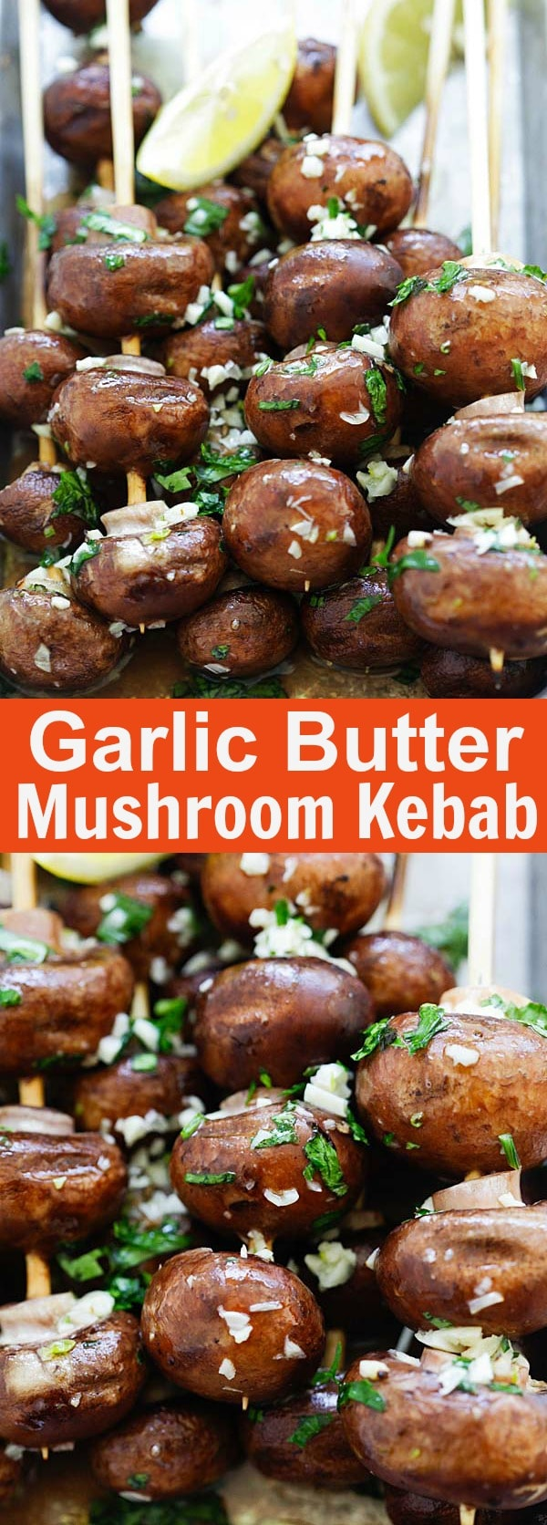 Garlic Butter Mushroom Kebab - easy grilled mushroom recipe with garlic herb butter marinade. Thread the mushrooms into mushroom skewers and grill for 5 mins | rasamalaysia.com