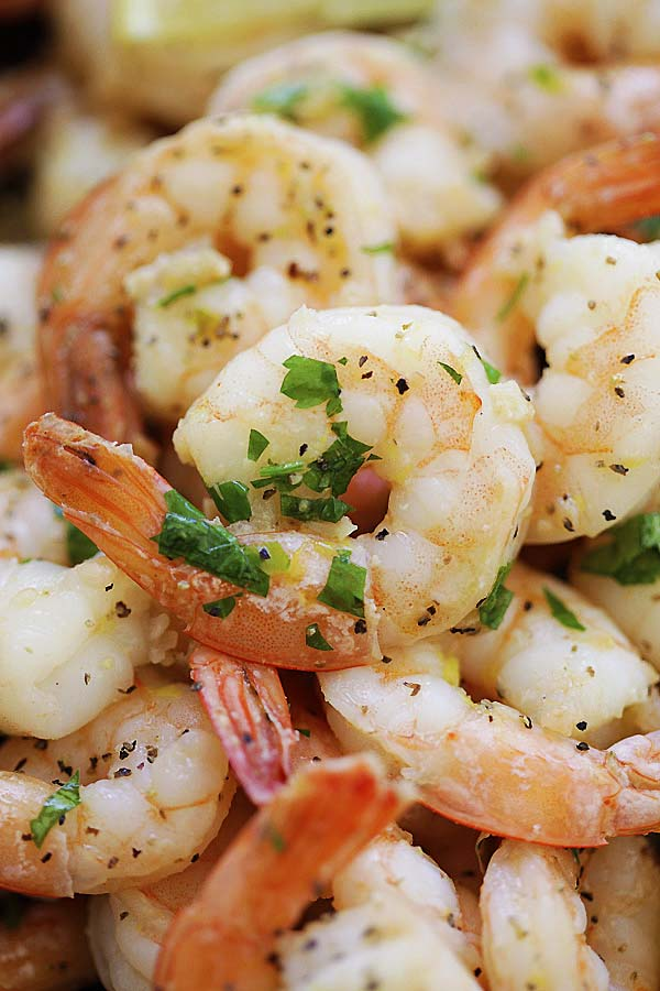 Close up of lemon pepper shrimp
