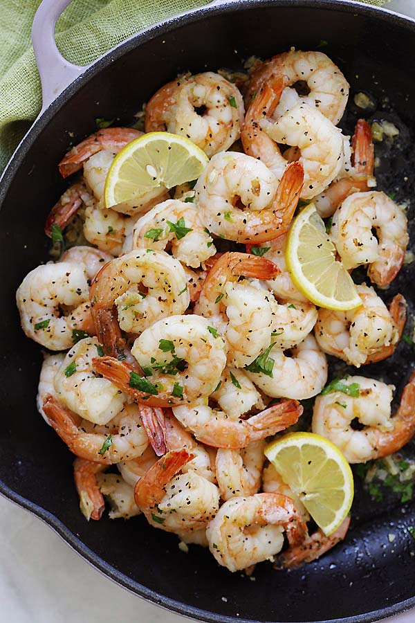 Perfectly cooked Lemon and Black Pepper Shrimp.