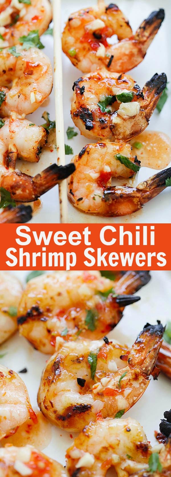 Sweet Chili Shrimp Skewers - perfectly grilled shrimp on sticks, marinated with Thai sweet chili sauce. These shrimp skewers are so easy to make and so delicious | rasamalaysia.com