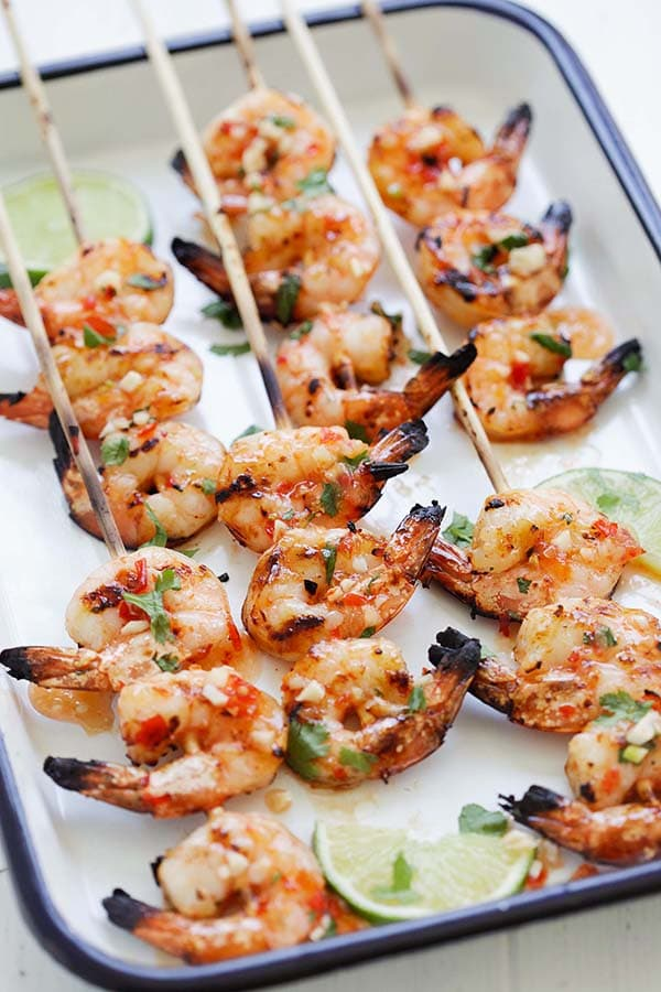 Thai sweet chili marinade shrimp skewers.