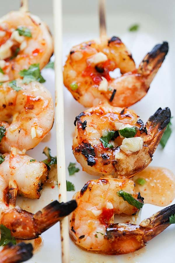 Easy marinade Thai sweet chili shrimp ready to serve.