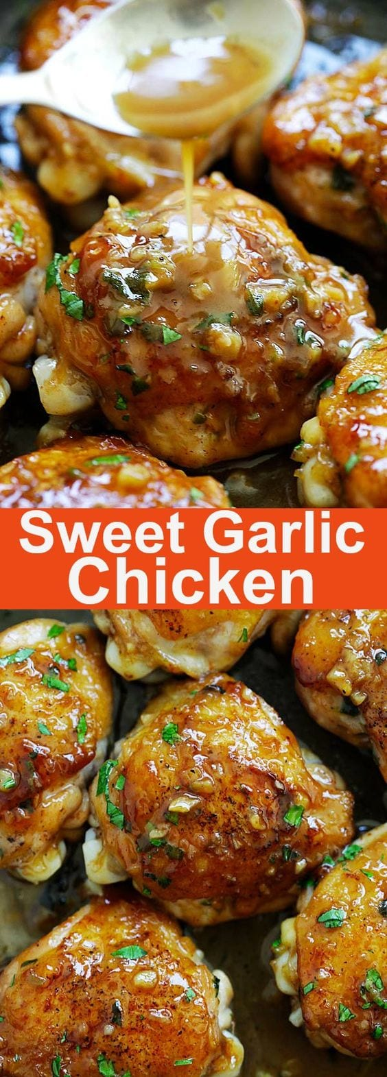 Sweet Garlic Chicken - best garlic chicken recipe ever, sweetened with brown sugar. Made in skillet and takes 20 minutes from prep to dinner table. This is chicken at its best | rasamalaysia.com