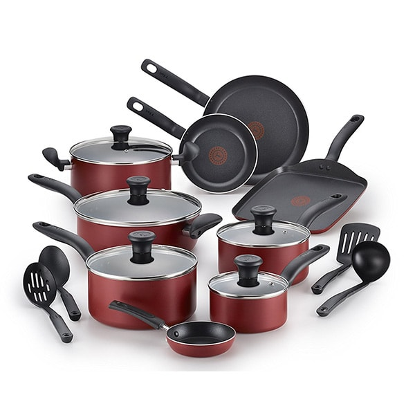 T-fal® B165SI Nonstick Dishwasher Safe 18-Piece Cookware Set Giveaway | Easy Delicious Recipes