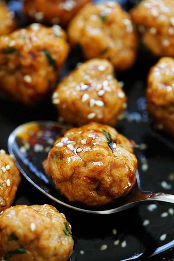 Chicken meatballs with Japanese teriyaki sauce.