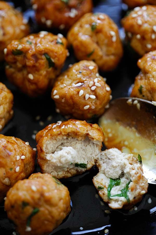 Homemade healthy Japanese Teriyaki chicken meatballs ready to serve.