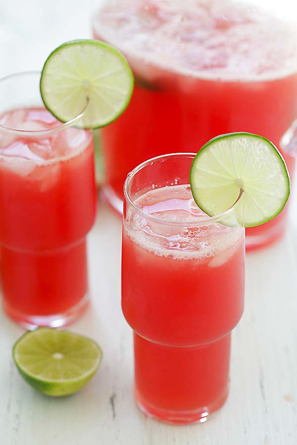 Easy watermelon-lime agua fresca served in a glass.