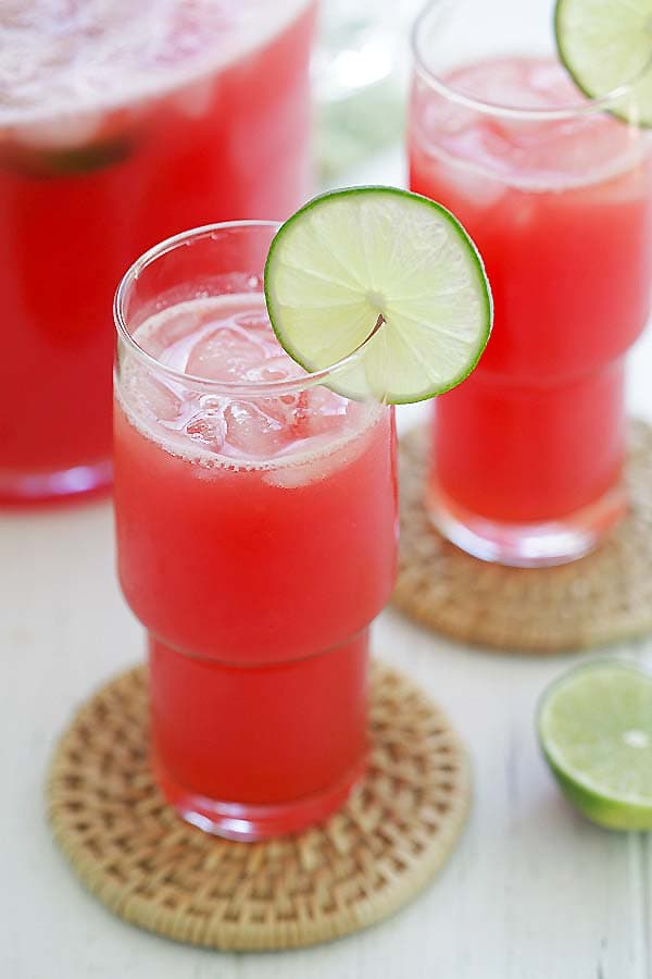Easy watermelon-lime agua Fresca made with watermelon, lime and syrup in glass.