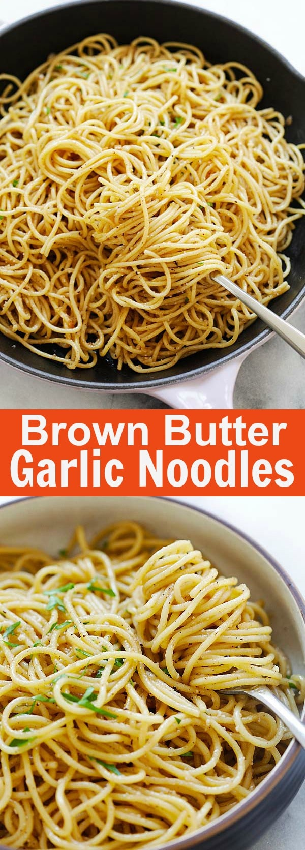 Brown Butter Garlic Noodles - the best noodles ever with garlic, brown butter, Parmesan cheese and oyster sauce. This recipe is delicious and takes 20 mins to make | rasamalaysia.com
