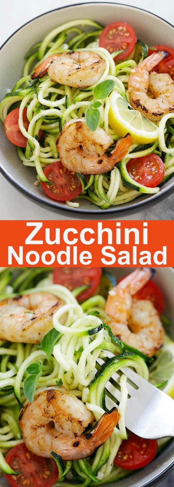 Zucchini Noodle Salad - healthy and refreshing salad made with zoodles or zucchini noodles. Topped with grilled shrimp and lemon-honey dressing, this salad is so delicious | rasamalaysia.com
