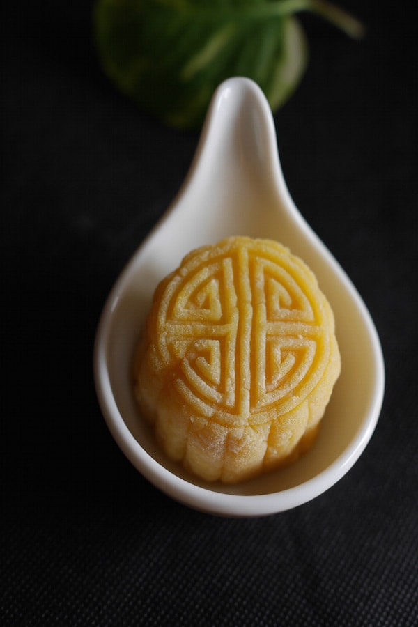 Durian Mooncake - celebrate mid-autumn festival with this special snow skin mooncake filled with durian. If you love durian, you would love this homemade mooncake | rasamalaysia.com
