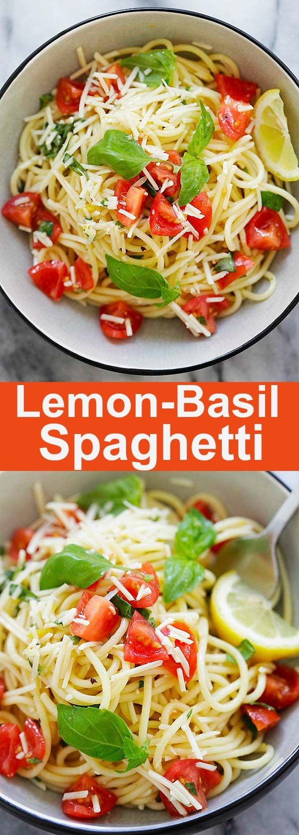 Lemon-Basil Spaghetti - refreshing, healthy and utterly delicious pasta dish made with lemon sauce, fresh basil and Parmesan cheese. This is perfect as lunch or a quick dinner | rasamalaysia.com
