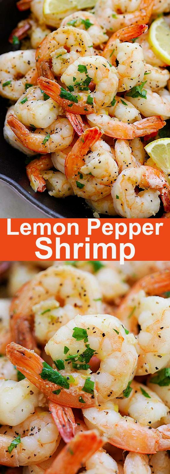 Lemon Pepper Shrimp - easy and flavorful recipe in 15 minutes. Citrusy and peppery in each bite, the shrimp can be served with pasta or salad.
