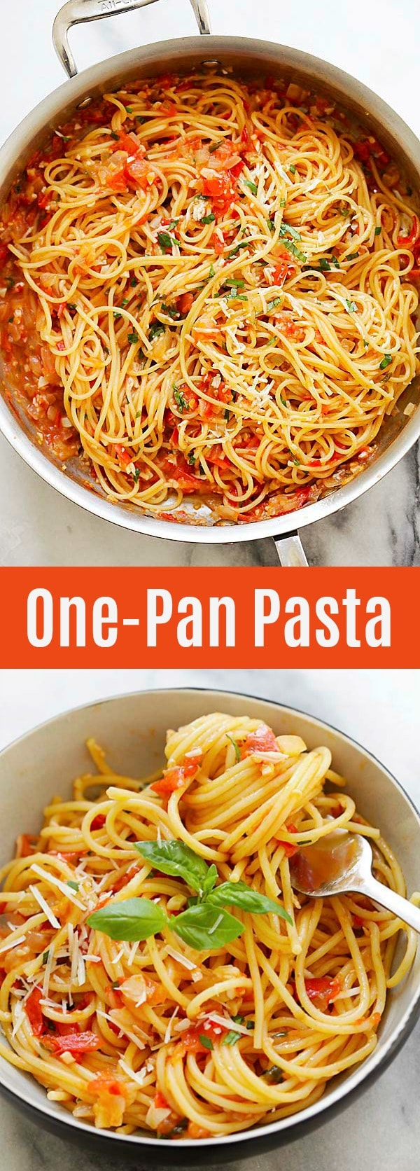 One-Pan Pasta - Quick and easy pasta recipe that takes 20 minutes to make. Throw all the ingredients in the pan and dinner is ready for the entire family!
