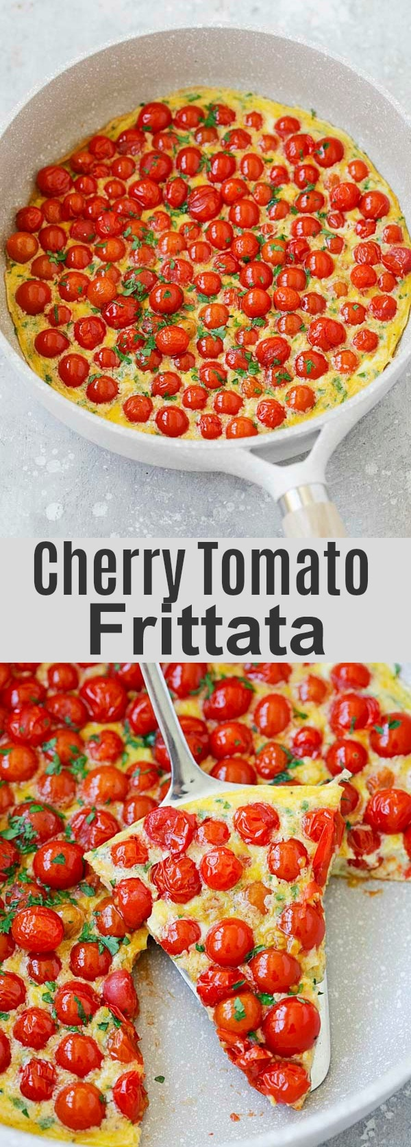 Cherry Tomato Frittata - healthy and easy Italian frittata recipe. Loaded with fresh cherry tomatoes and Parmesan cheese, every bite is bursting with juicy flavors. So good!