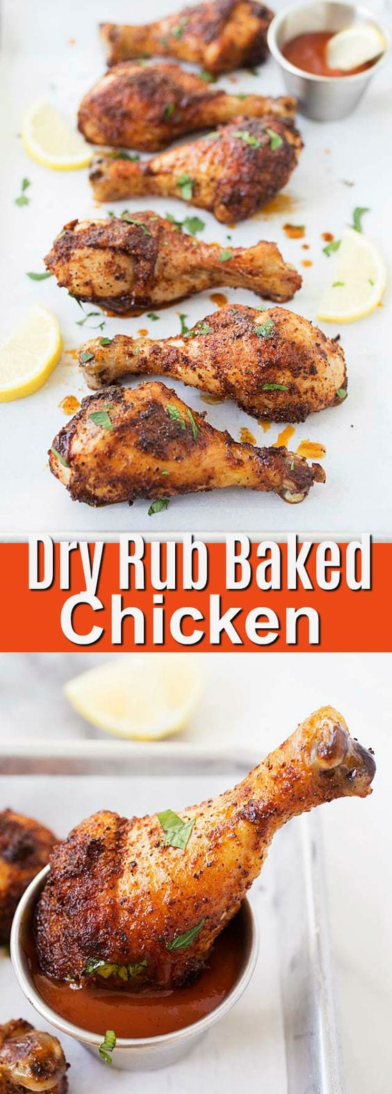 Dry Rub Baked Chicken - the easiest and quickest oven-baked chicken drumsticks. Just coat the chicken with dry rub, salt and dinner is done. Prep time is only 10 minutes!