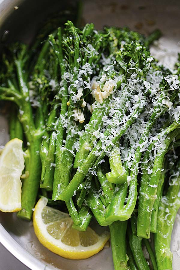 Garlic Parmesan Broccolini in a skillet.