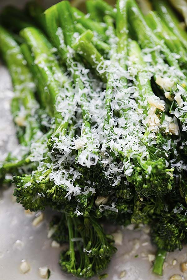 Healthy homemade Broccolini with garlic and Parmesan cheese.